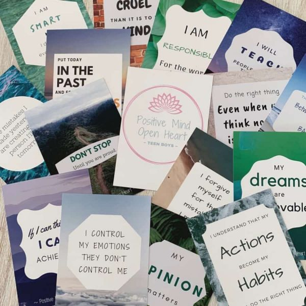 """Affirmation cards for Kids - """"Teen Boy"""" pack is perfect for the 12-17 yrs age group, using language that is easy to understand for children of this age"""