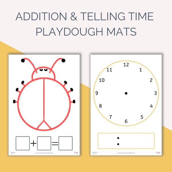 Learning addition and how to tell time using these playdough mats