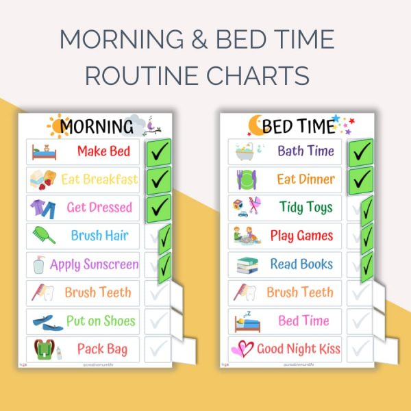 Morning and bed time routine charts for kids